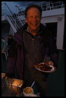 Doug and a plate full of ribs aboard the Polar Star on anchor at Grytviken