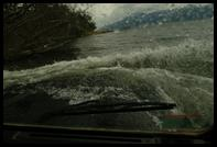 The view from the passenger seat of the Land Rover Defender 110 in 4 feet of water