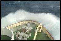 Waves crashing over the bow of the Polar Star (Level 11 Storm, Beaufort Scale)