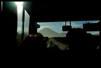 Bus ride to the start of the Tongariro Crossing (Mt. Ngauruhoe in the distance)