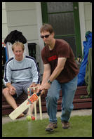Matt playing backyard cricket