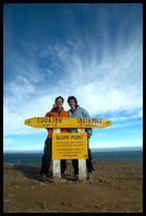 Matt & Eileen at Slope Point, the southernmost point of the South Island