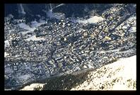 Looking down on Chamonix from Aguille de Midi