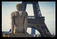 Statue overlooking the Eiffel Tower