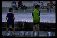 Kids in the fountain in the Olympic Park