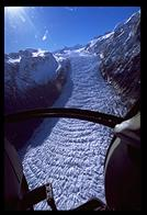 An aerial view of the Fox Glacier
