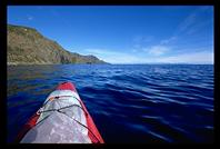 A view down the remote western shore of Kapiti Island from my kayak