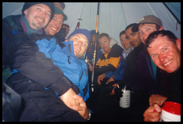 The group in Vern's tent.