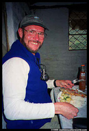 John having lunch (trout) before the start of the Condor Trail