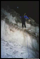 John downclimbing an ice face on Chimborazo