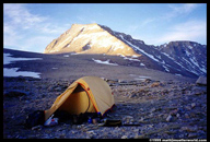 Tent at Shepard´s Pass with Mt. Tyndall in the background